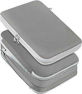 QLM 旅行圧縮バッグ トラベルポーチ 収納バッグ 2点セット 可変スペース 衣類圧縮バッグ ファスナー付け 乾湿分離 出張旅行 簡単圧縮 軽量 大容量 防水素材 スペース節約 衣類仕分け 1年品质保証