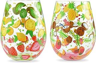 Enesco 6006289 Designs by Lolita Tutti Fruiti Hand-Painted Artisan Stemless Wine Glass Set, 20 Ounce, Multicolor
