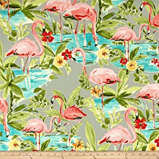 WAVERLY Sun N Shade Flamingoing Outdoor Fabric by The Yard, Platinum