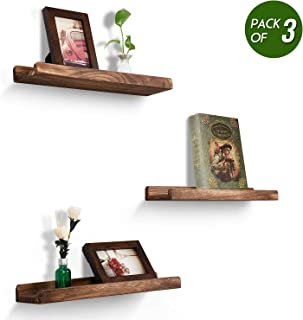 Emfogo Wood Picture Ledge Shelf Rustic Floating Shelves Set of 3 for Storage and Display 16.9 inch Carbonized Black