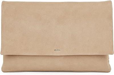 BOSS Damen Rose Clutch-S Clutch aus weichem Veloursleder mit Logo und magnetischem Druckknopf