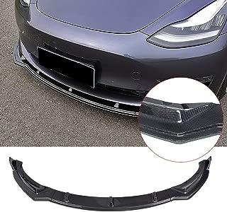 Front Bumper Lip YOUNGERCAR 2016-2019 Tesla Model 3 Carbon Fiber Coating Bumper Spoiler Lip Kit ABS