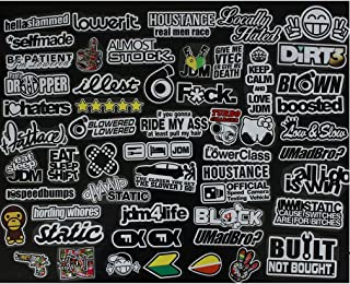 JDM 55 Piece CAR Decal Racing Decal Sticker JDM Accessories Racing Decale for Cars Motorcycle Decals Graphics Sponsor Logo Drift Turbo Valve Slammed Race Drift(55pcs)