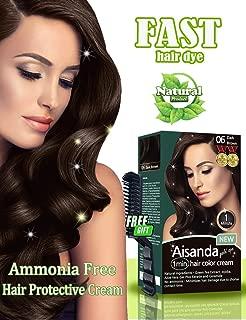 Dark Brown Hair Color Natural Hair Dye for Women & Men,Semi-Permanent, Full Gray Coverage,Ammonia Free,Long Lasting,Aisanda Gold Spa 1min Hair Color Cream (Dark brown 4.8OZ)