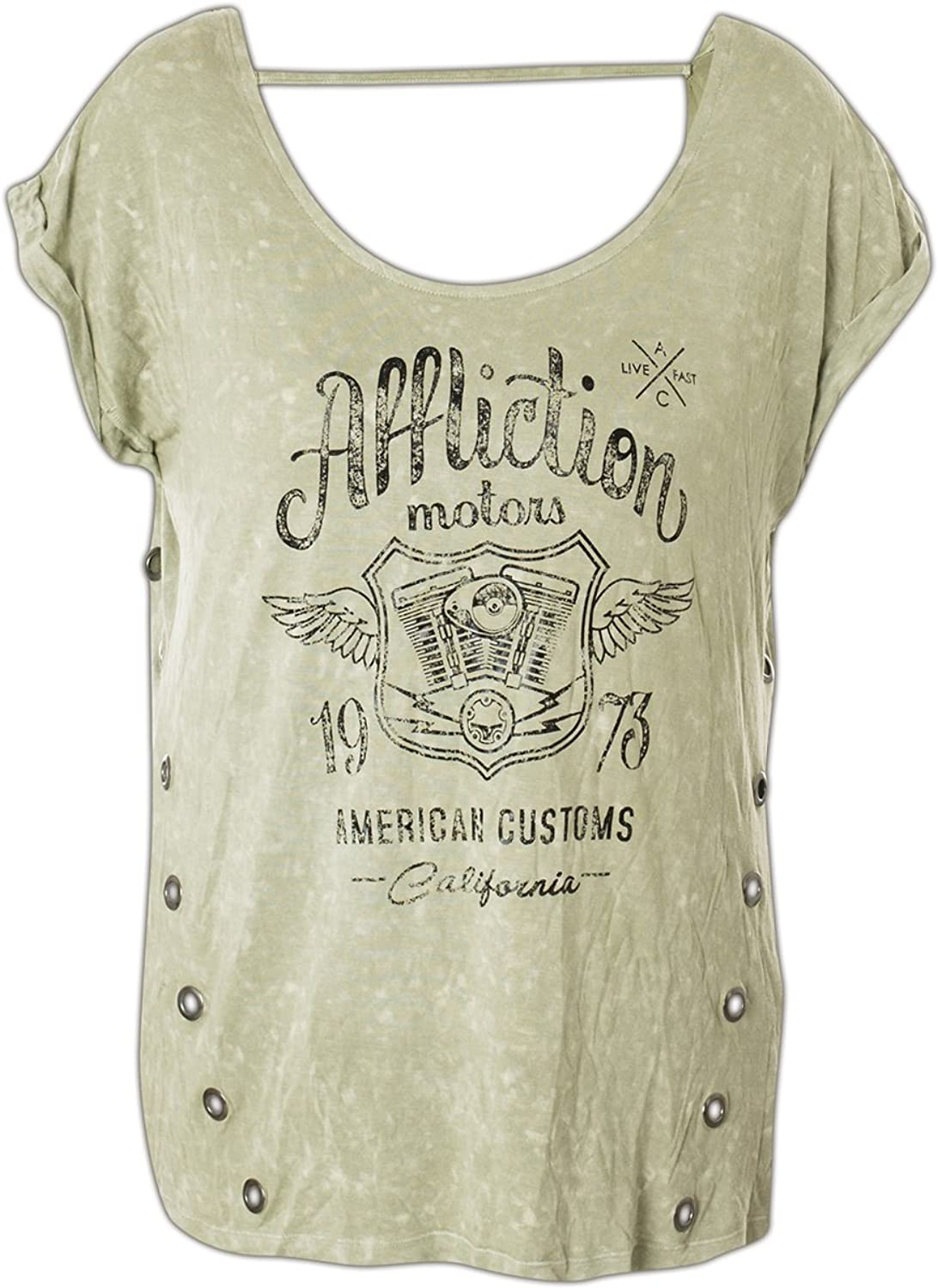 Affliction CA Motors Fashion Graphic Short Sleeve Tshirt Top For Women