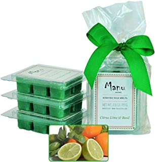 Manu Home 7.5 oz Citrus Lime & Basil Scented Wax Melts ~ 3-Pack ~ 50+ Hours of Fragrance When Wax Cubes are Melted in Scentsy or Standard Electric Warmer. Aromatherapy Oils ~ Made in USA
