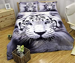 Tiger Bedding Duvet Cover Twin 3D Animal White Tiger Printed Bedding Set for Kids Boys Teens Hypoallergenic No Deformation Microfiber Duvet Cover with Pillowcase (Twin, 2Pcs)