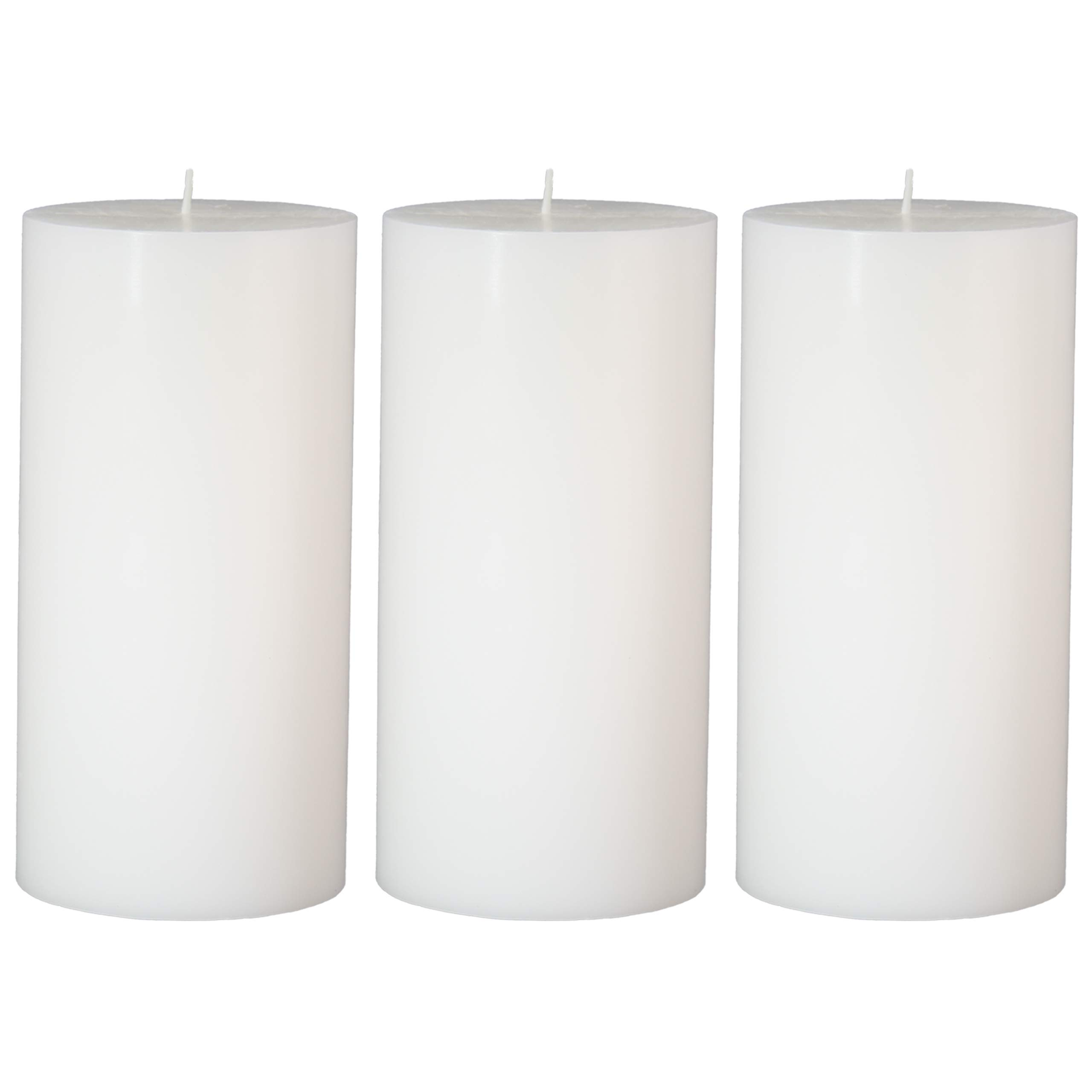 CandleNScent 3x6 White Pillar Candles Hand Poured Unscented (Pack of 3)