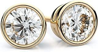 18K Yellow Gold Bezel Set Round Diamond Stud Earrings, 1 ct. t.w. (SI1-2 / J-K)