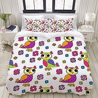 "Mokale Full Size Duvet Cover,Vector Seamless Pattern Owls Flowers 5,Decorative 3 Piece Bedding Set with 2 Pillow Shams,Zipper Closure,Ultra Soft 80"" 90"""