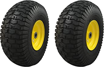 MARASTAR 21427-2pk Lawnmower 15x6.00-6 Front Tire Assembly Replacement for John Deere Riding Mowers, Black
