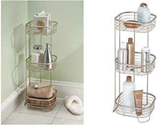 iDesign Forma Metal Wire Corner Standing Shower Caddy, Bath Shelf Baskets for Shampoo, Conditioner, Soap, 9.5