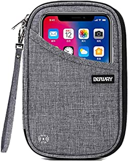 DEFWAY Passport Holder Travel Wallet - Waterproof RFID Blocking Credit Card Organizer Travel Document Bag Ticket Wallet with Strap for Men Women (Small Gray)