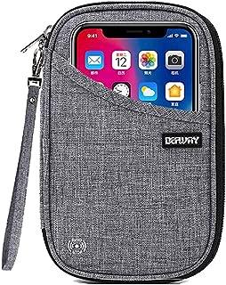 DEFWAY Passport Holder Travel Wallet - Waterproof RFID Blocking Credit Card Organizer Travel Document Bag Ticket Wallet with Strap for Men Women (Small Gray)