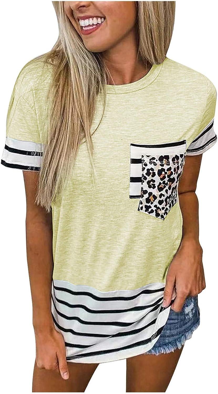 Women's Leopard Print Blouses Patchwork Striped Summer Tee Round Neck T-Shirt Tops