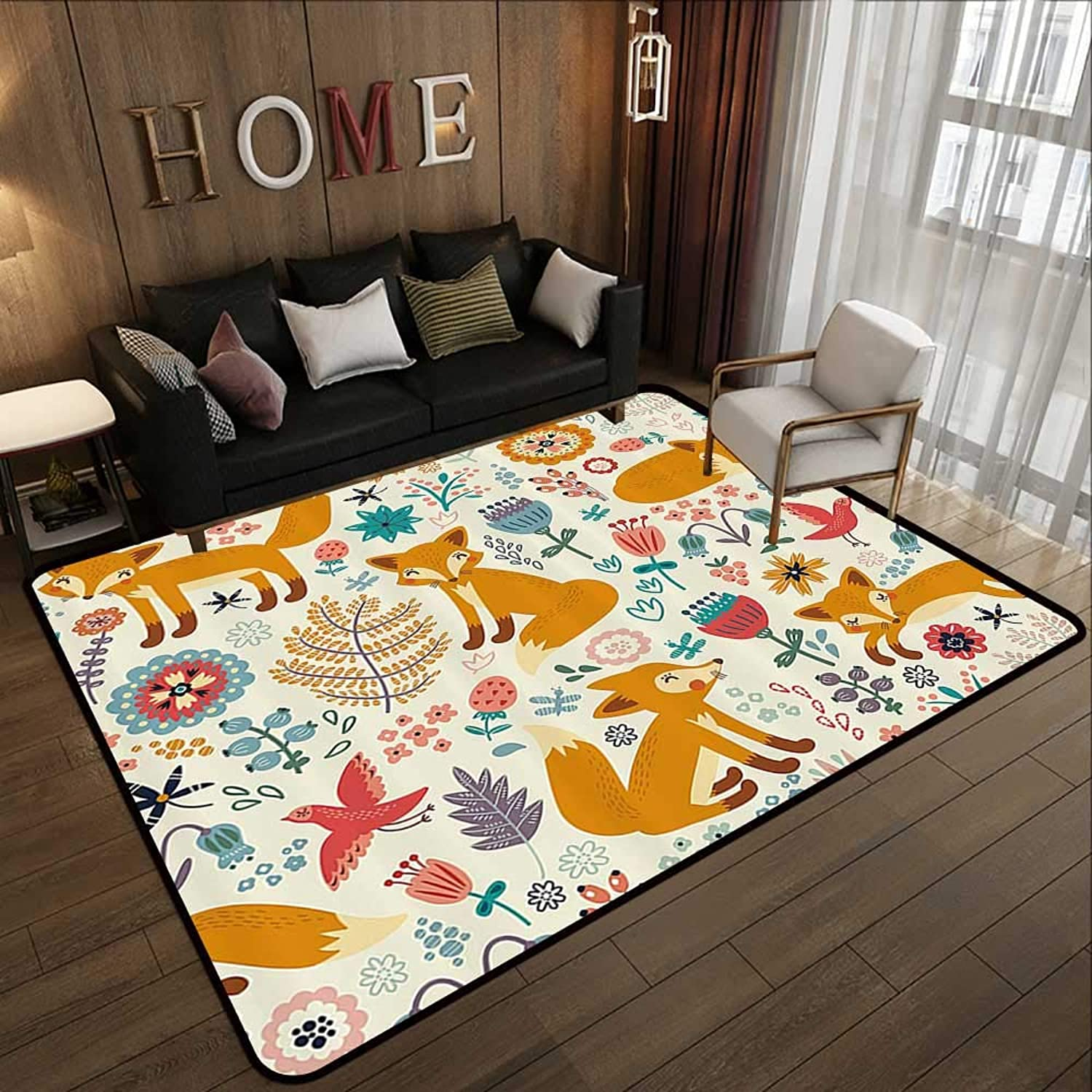 Floor mat,Fox,Natural Wildlife Composition with Cute Foxes Ornate Flowers Flying Birds Kids Nursery,Multicolor 47 x 59  Indoor Outdoor Rubber Mat