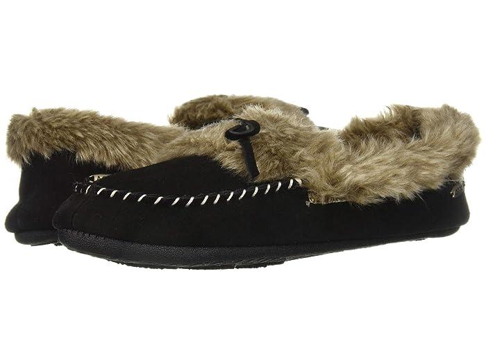 Acorn  Cozy Fur Moc (Black) Womens Moccasin Shoes