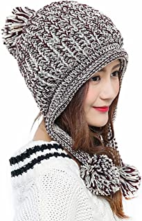 HUAMULAN Women Winter Thick Beanie Hat Ski Ear Flaps Caps Dual Layered 2d95d148c1ab
