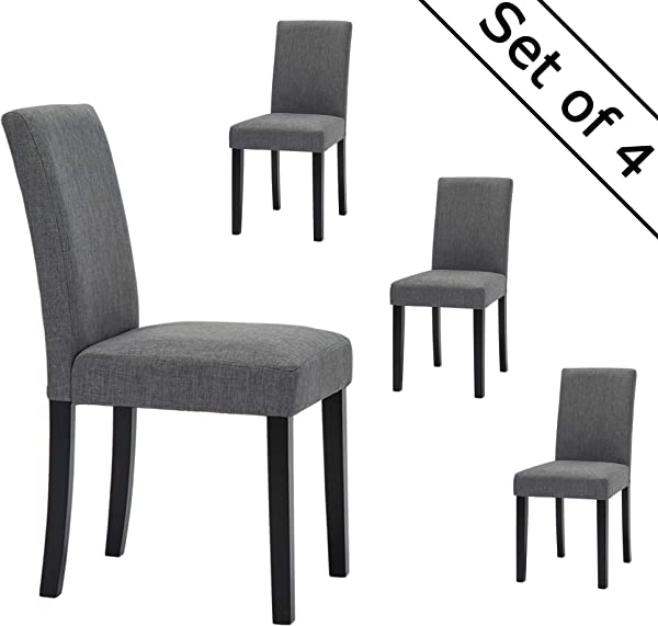 LSSBOUGHT Set Of 4 Classic Fabric Dining Chairs Dining Room Chair With Solid Wood Legs Grey