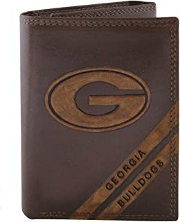 NCAA Georgia Bulldogs Zep-Pro Pull-Up Leather Trifold Embossed Wallet, Brown