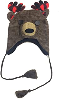 Crochet Beanie Deer Plaid Antler Tassel Hat, Toque Skull, Brown