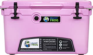 Frosted Frog Pink 45 Quart Ice Chest Heavy Duty High Performance Roto-Molded Commercial Grade Insulated Cooler