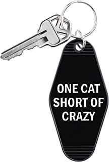 One Cat Short Of Crazy Keychain in Black and White 3.75