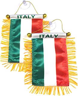 Italy Flag Designs Italian Flag Style for car Automobile 2pc Stick it to Your Window or Hang it Easy Quick