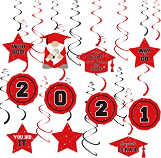 Dazonge Red&Black 2021 Graduation Decorations kit , Assembled Class of 2021 Hanging Swirl for Graduation Party Supplies, C...