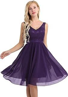 Women's Lace Chiffon A-Line Prom Formal Wedding Bridesmaid Short Mini Dress