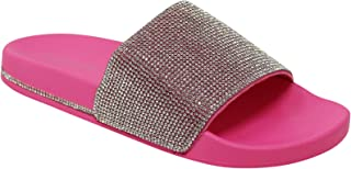 Wild Diva Women's Slides Rhinestone Glitter Sandals