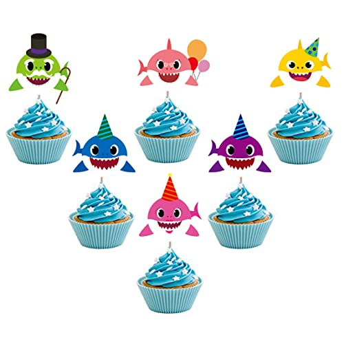 24 Pieces Cute Shark Cupcake Toppers 6 ColorsLaughing Cake Picks