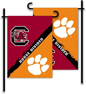 NCAA Clemson Tigers House Divided 2 Sided Garden Flag, Orange
