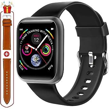 Montre Intelligente Femme,Smartwatch pour Android,Montre Intelligente Homme avec Moniteur de Fréquence Cardiaque, IP68 Étanche Écran Montre