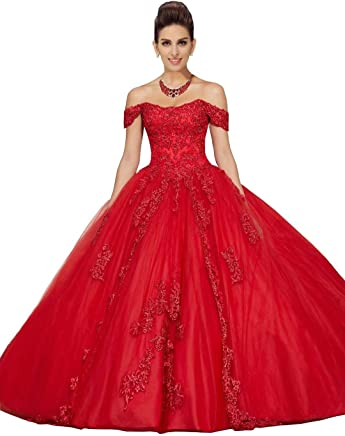 97f6c673b6 Fannydress 2019 Off The Shoulder Prom Dresses with Sleeve Lace Applique  Crystal Beaded Quinceanera Dress Gowns