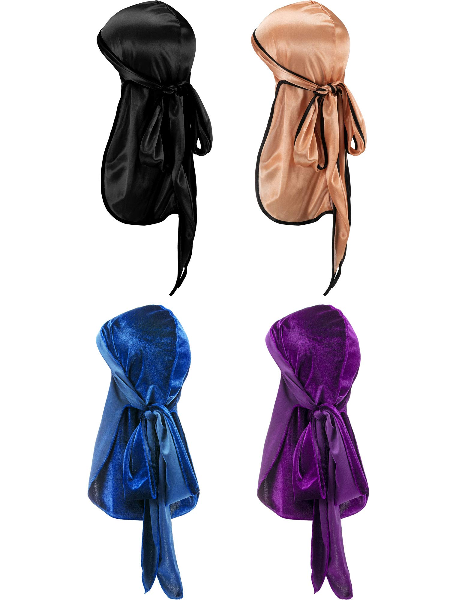 Gejoy Silky Durag Long Tail Headwraps Wide Straps Pirate Cap Smooth Hat Color Set 1