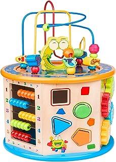 Mumoo Bear Activity Cube Toys for Kids Wooden 8-in-1 Activity Blocks Educational Bead Maze Toys Boys Girls Activity Center...