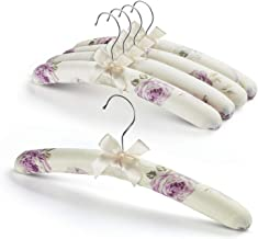 GLCON Satin Padded Hangers for Women Clothing - Floral Sweater Hangers No Bump - Padded Coat Hangers for Wedding - Thick Foam Silk Clothes Hangers for Adult (Pack of 5)
