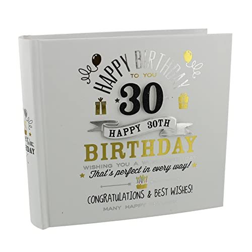 30th Birthday Photo Album 4x6 Signography Black And Gold Design FL29930