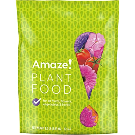 Amaze! Plant Food - Plant Fertilizer, Use on All Fruits, Flowers, Vegetables and Herbs, For Indoor and Outdoor Plants, 12-5-7 NPK, 8 lbs