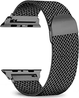 Kolumb Compatible for iWatch Series 1/2/3/4/5, Stainless Steel Mesh Sport Wristband Loop with Adjustable Magnet Clasp for Apple Watch Band 38mm 40mm 42mm 44mm.