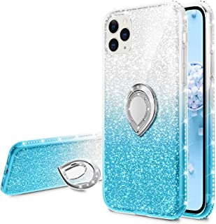 Glitter Case Compatible for iPhone 11 Pro Max Case, VEGO Gradient Ombre Ring Holder Kickstand Bling Diamond Rhinestone Sparkly Women Girls Cute Case 6.5 inch(Silver Teal)