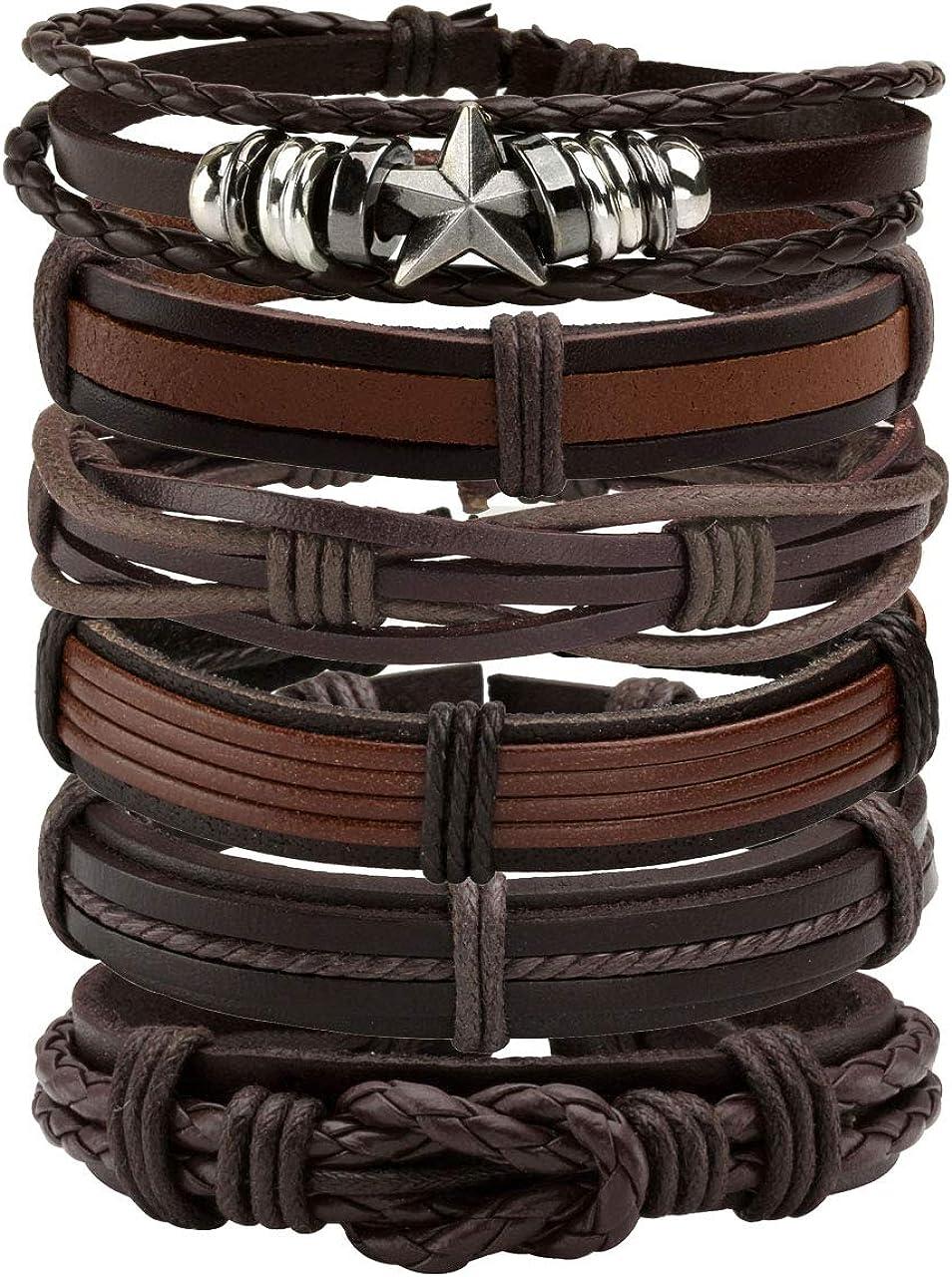 Manfnee Leather Braided Bracelet Cuff Wrap Wristband for Men Women Adjustable