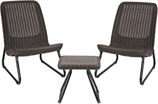 Keter Rio 3 Pc All Weather Outdoor Patio Garden Conversation Chair & Table Set Furniture, Brown (Renewed)