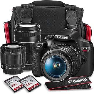 دوربین Canon T7 EOS Rebel DSLR با کیت لنزهای 18-55mm و 75-300mm + مجموعه فیلتر شفاف UV + سه پایه + فلش و بسته بسته لوازم جانبی کارت SD Dual SD 32GB