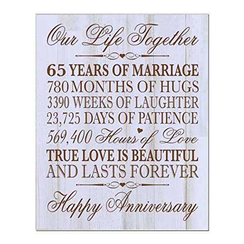 99dda50f4d Personalized 65th Wedding Anniversary Wall Plaque Gifts for Couple Parents,  65th for Her,him