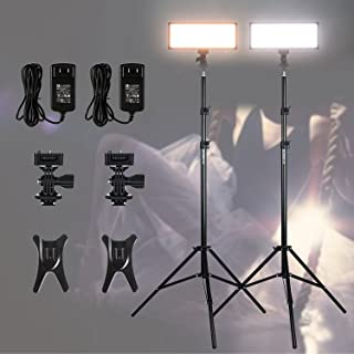 "(2 Pack) VILTROX Video Lighting kit,L132T LED Light with Light Stand, 2m AC Adapter, 0.78""/2cm Ultra Thin CRI95 5600K/3300K LED Video Light Dimmable Flat Panel Light"