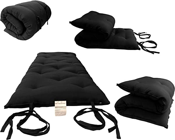 D D 蒲团家具全尺寸黑色传统日式地板蒲团床垫可折叠坐垫垫子瑜伽 Meditaion 54 宽 X 80 长 3 厚