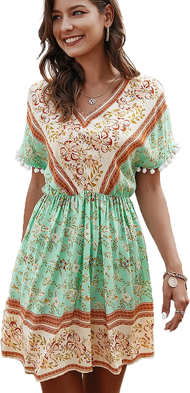 Max 85% OFF Schkleier Women's Casual Bohemian Midi Floral Over item handling ☆ Dress Short Sleeve
