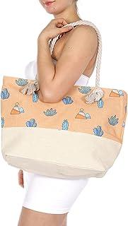 SERENITA Extra Large Canvas Beach Bag Small Cactus Orange